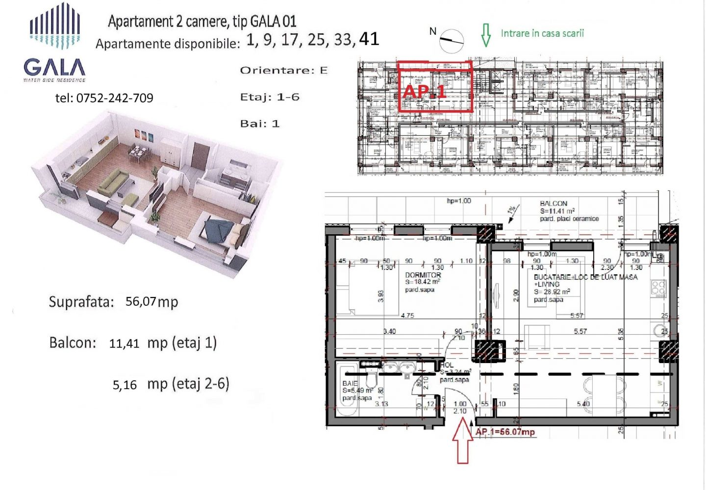 Repro Invest - Gala Water Side Residence - Plan apartament 2 camere tip 1