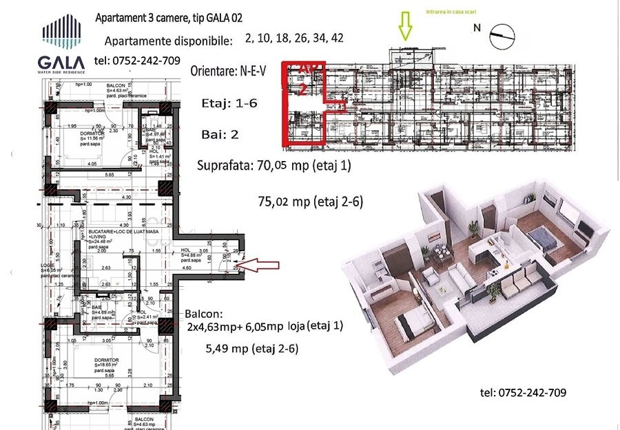 Repro Invest - Gala Water Side Residence - Plan apartament 3 camere tip 2