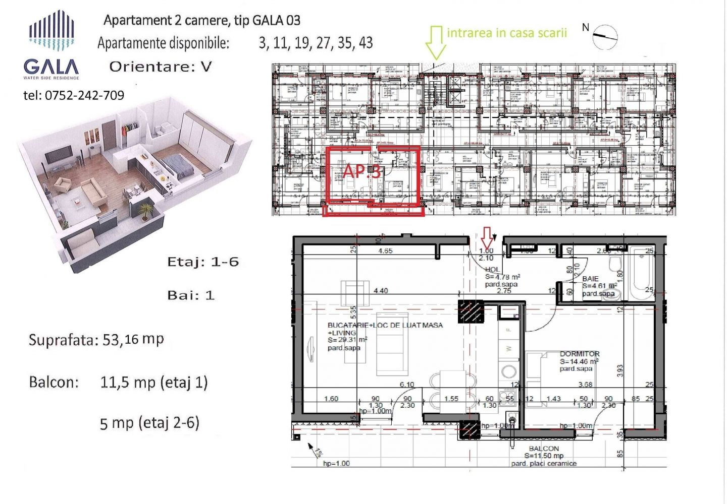 Repro Invest - Gala Water Side Residence - Plan apartament 2 camere tip 3