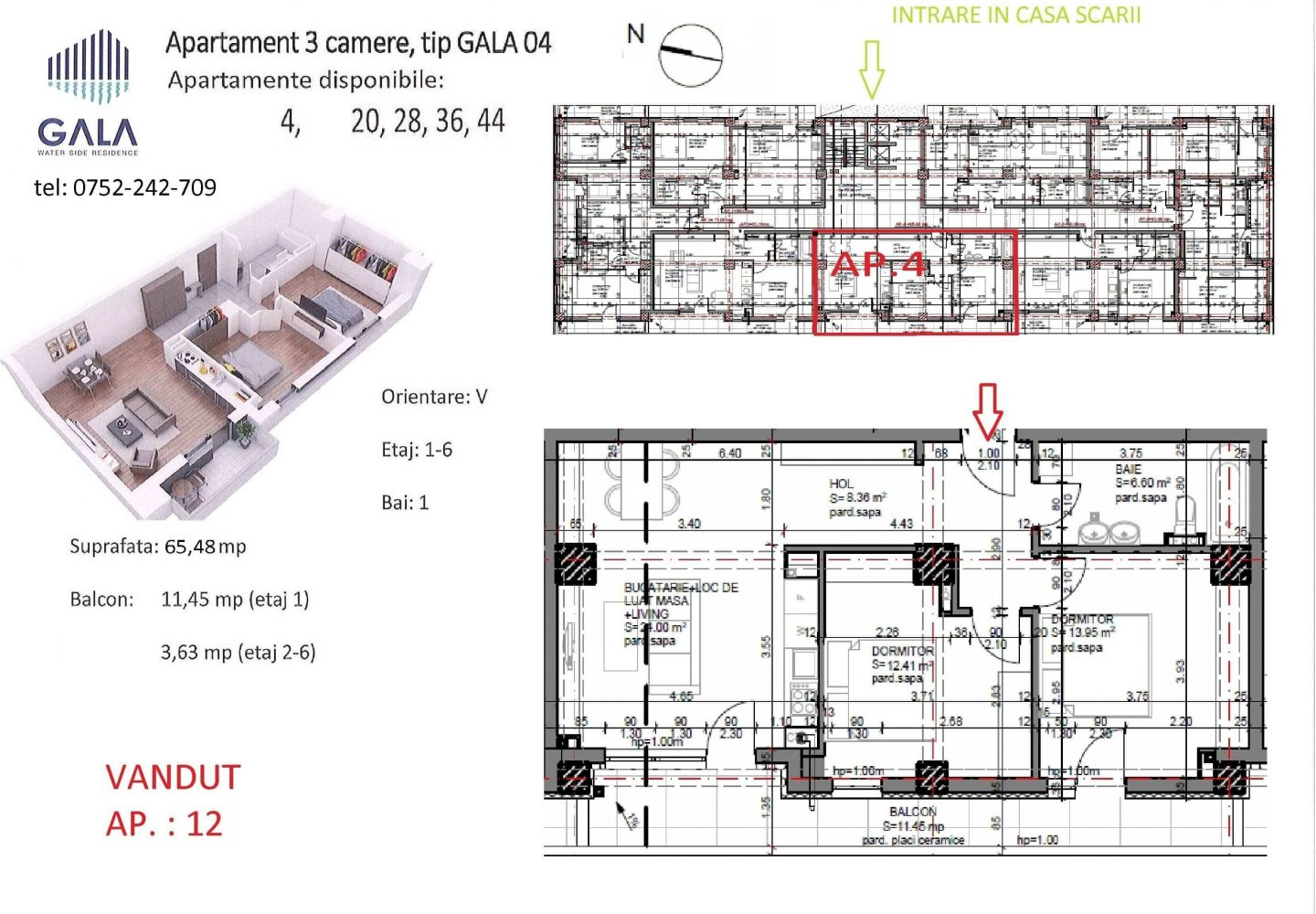 Repro Invest - Gala Water Side Residence - Plan apartament 3 camere tip 4