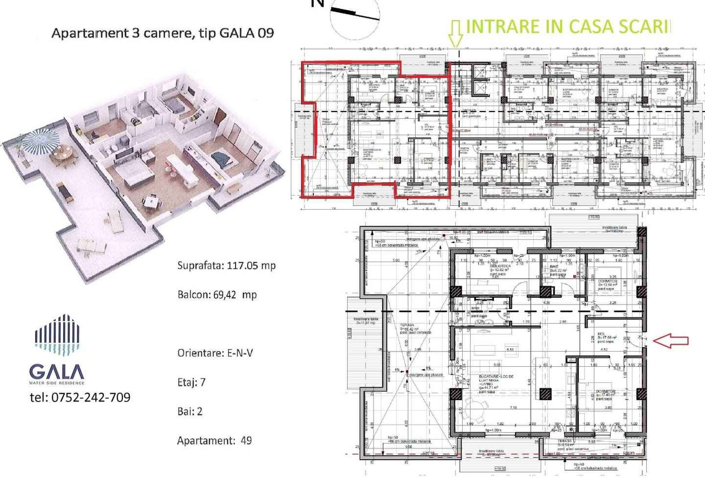 Repro Invest - Gala Water Side Residence - Plan apartament 3 camere tip 9