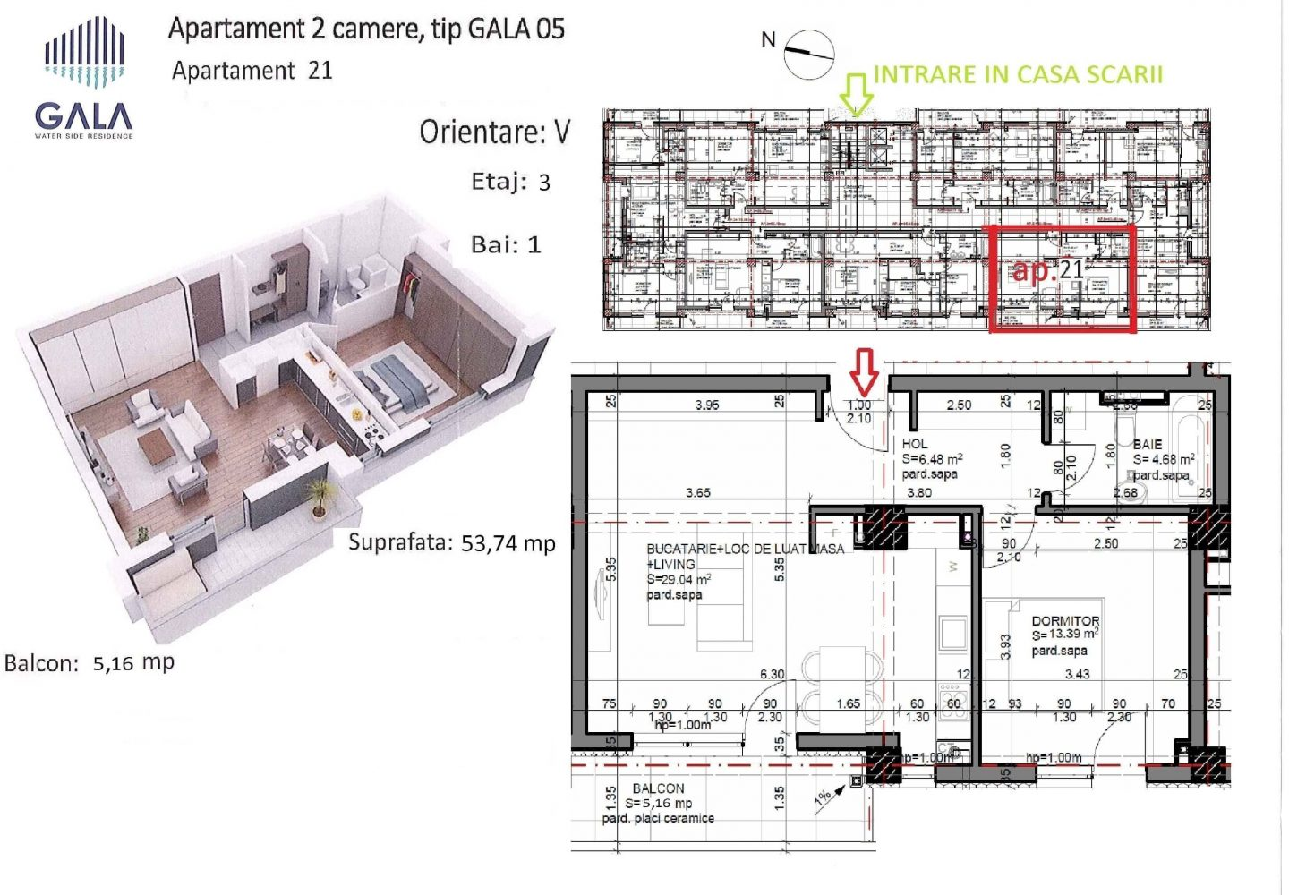 Repro Invest - Gala Water Side Residence - Plan apartament 2 camere tip 5
