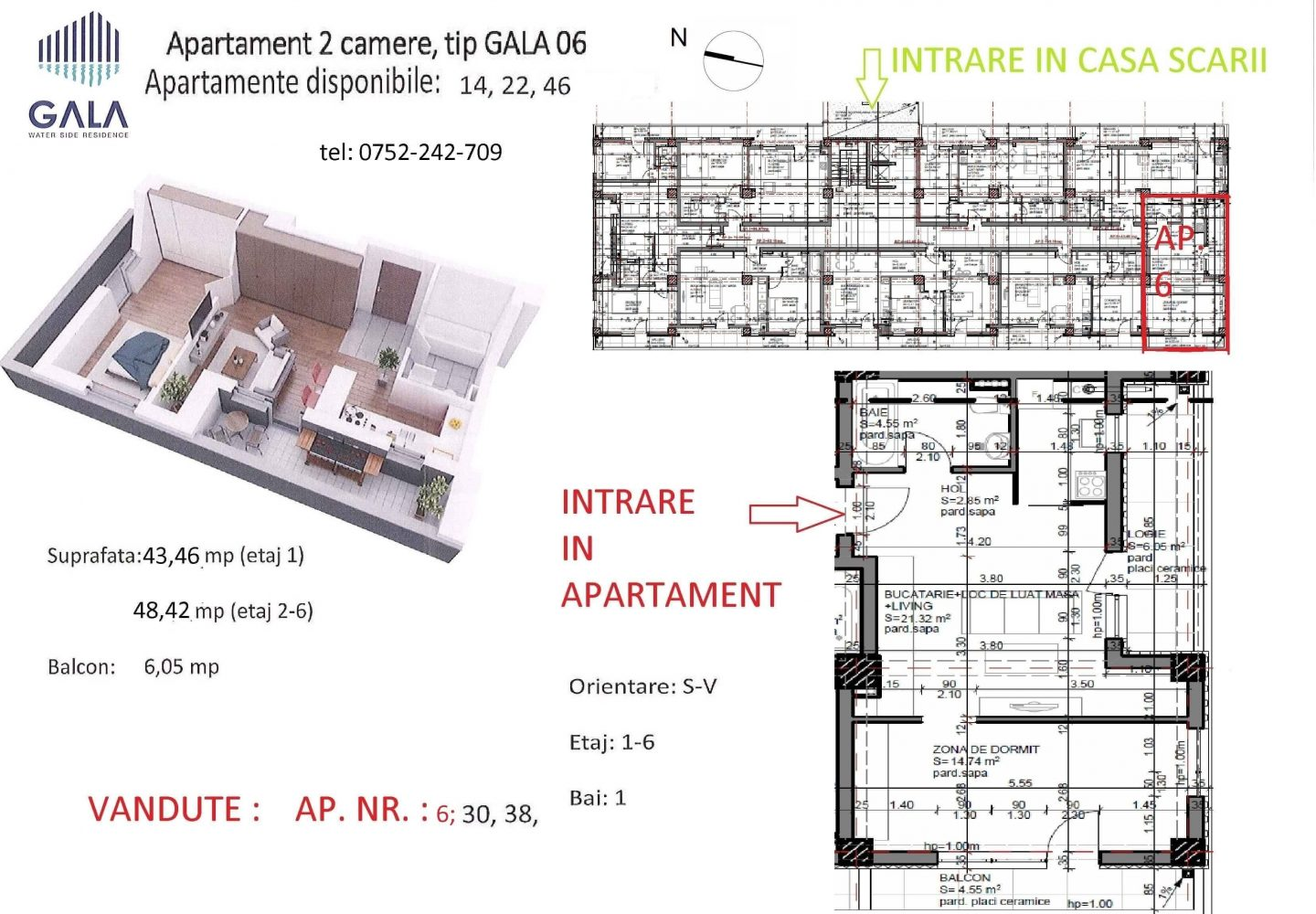 Repro Invest - Gala Water Side Residence - Plan apartament 2 camere tip 6