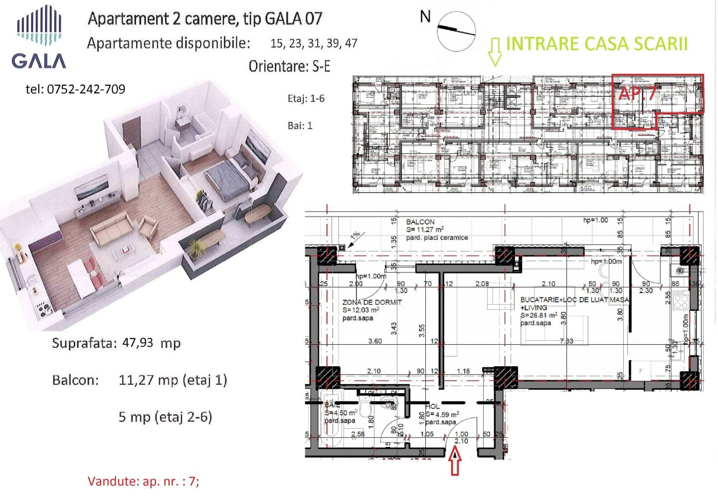 Repro Invest - Gala Water Side Residence - Plan apartament 2 camere tip 7