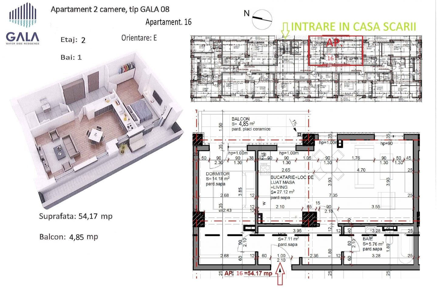 Repro Invest - Gala Water Side Residence - Plan apartament 2 camere tip 8